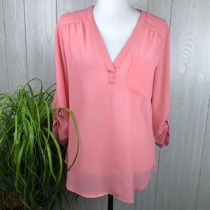 Maurices pink v-neck 3/4 roll tab sleeve top